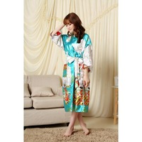 Big Stock Lake Blue Chinese Women S Tradition Bath Gown Silk Bathrobe Kimono Gown Kaftan Flower