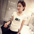 Spring and summer women's slim white t shirt women's basic shirt short-sleeve student T-shirt female short-sleeve top