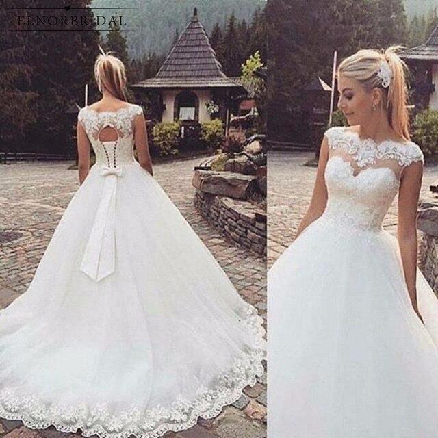 Beach Tulle Ball Gown Wedding Dresses 2019 Gelinlik Corset Back Sheer Lace Handmade Bridal Gowns Robe De Mariee