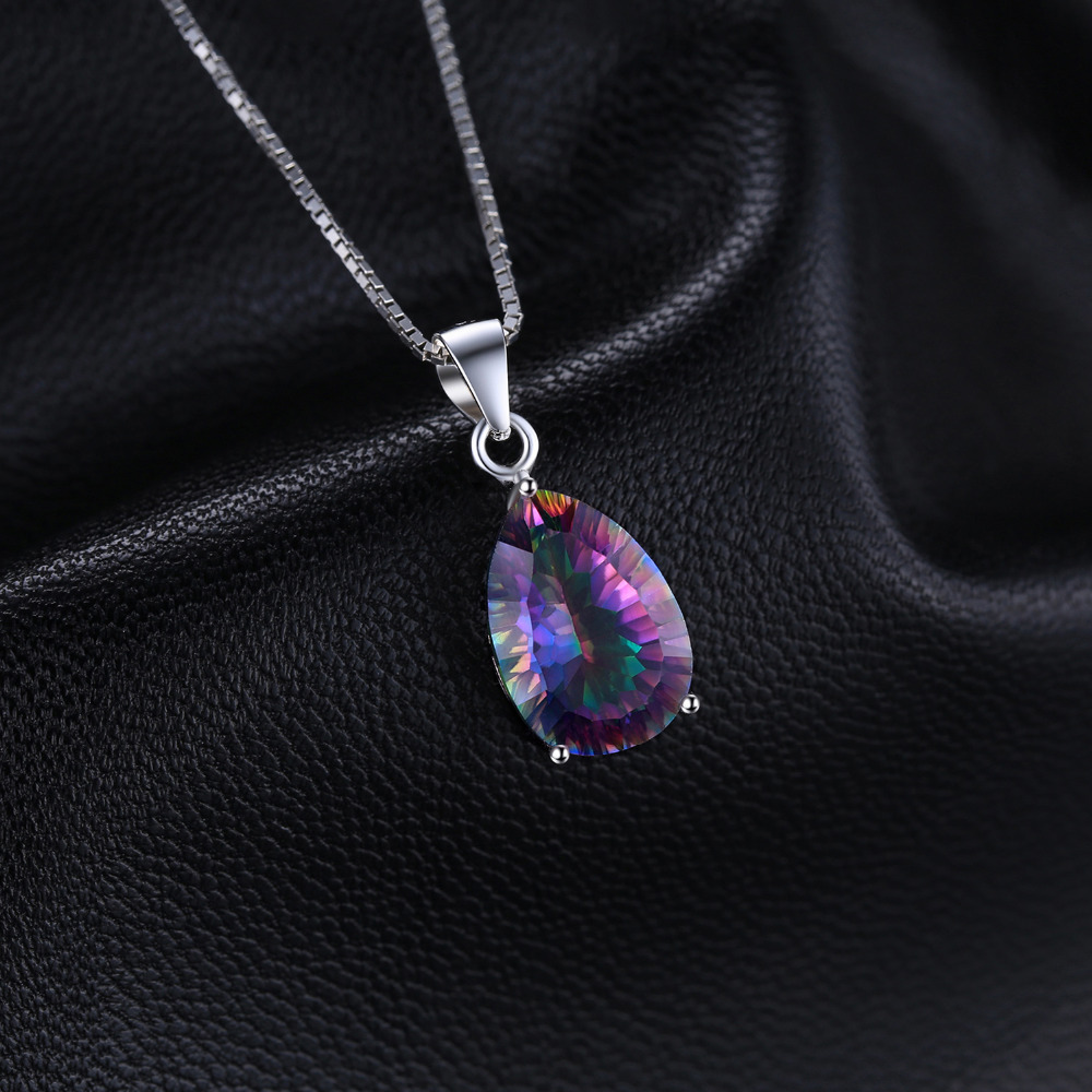 4ct Genuine Multicolor Rainbow Fire Mystic Topaz Pendant Pear Pure 925 sterling Silver Brand New Without Chain 1