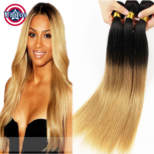 Brazilian Straight Ombre Hair Extensions Blonde Brazilian Human Hair