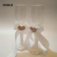 Newest 2 PCS Set Wedding Champagne Toasting Glasses Wedding Glasses Set For Weddings Decoration