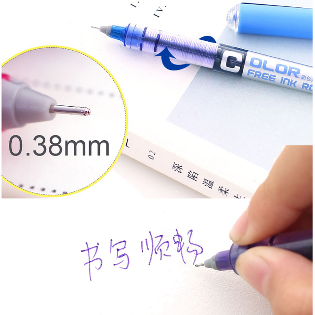 7pcs/lot 0.38 Needle type straight liquid type ball pen color pen water Gel Pens Extra Fine Point Liquid Ink Roller Ball Pen 2