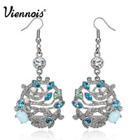 Viennois Gold Silver Color Leaves Dangle Earrings For Women Crystals From Swarovski Drop Earrings Female Luxury