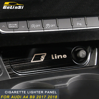 Gelinsi For Audi A4 B9 2017 2018 brushed stainless steel Cigarette lighter panel trim cover accessories Sticker Auto Car