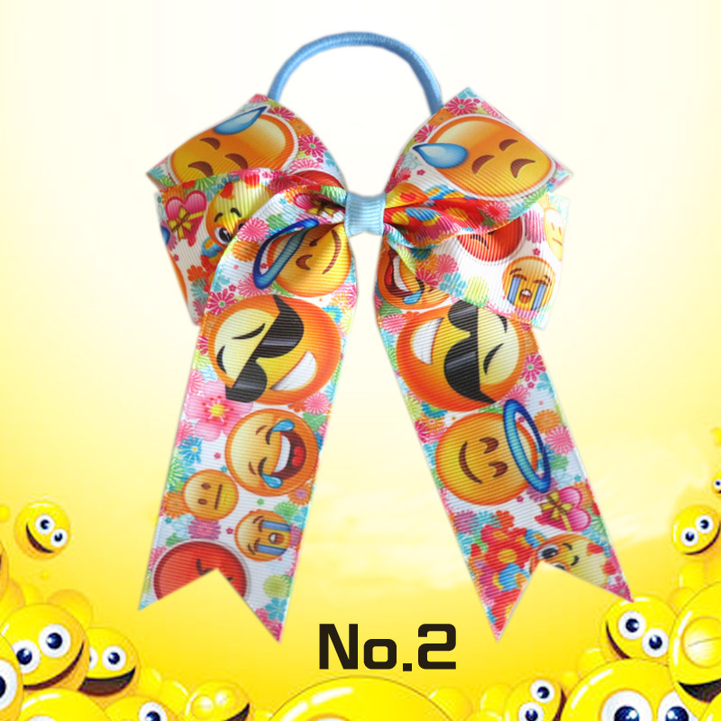 16 BLESSING Happy Girl Hair Accessories smiling face Long Tail 4.5 Cheer Leader Bow Elastic