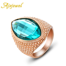 Size 7-9 Free Shipping 18K Rose Gold Plated Big Green Crystal Stone Ring For Men