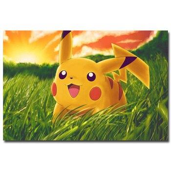 Аниме плакат гобелен шелковый Пикачу покемоны вариант 2