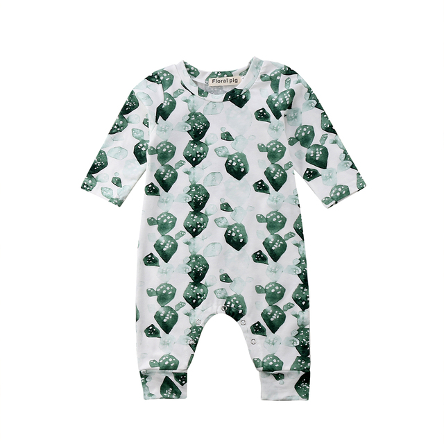 4e9aa4f128b7 Newborn Baby Girls Boys Rompers Cactus Pattern Summer Jumpsuit Outfits  Sunsuit Clothes Long Romper 0-24M