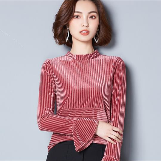 Korean Fashion Fall Clothes 2018 New Autumn and Winter Velvet Tops Women  Flare Sleeve Velvet T shirts Pink,Blue,Green E873,in T,Shirts from Women\u0027s  Clothing