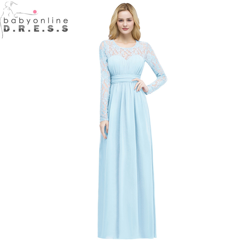 Babyonlinedress Long Sleeve Lace Bridesmaid Dresses 2018 Cheap Beach Chiffon Wedding Party Dress Robe Demoiselle D'honneur