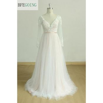 Ivory Tulle Lace Appliques V-Neck  A-line Wedding Dress Court Train  Long Sleeves Real/Original Photos  Custom made