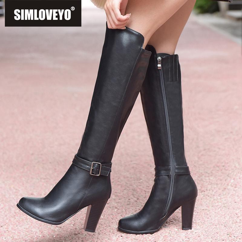 grey Cremallera Tacón Alto dark Plataforma Lateral Black Zapatos De Hebilla Mujer Simloveyo Brown Invierno Doble B878 Rodilla Otoño Bota Botas Mujeres gvxwPnpqtU