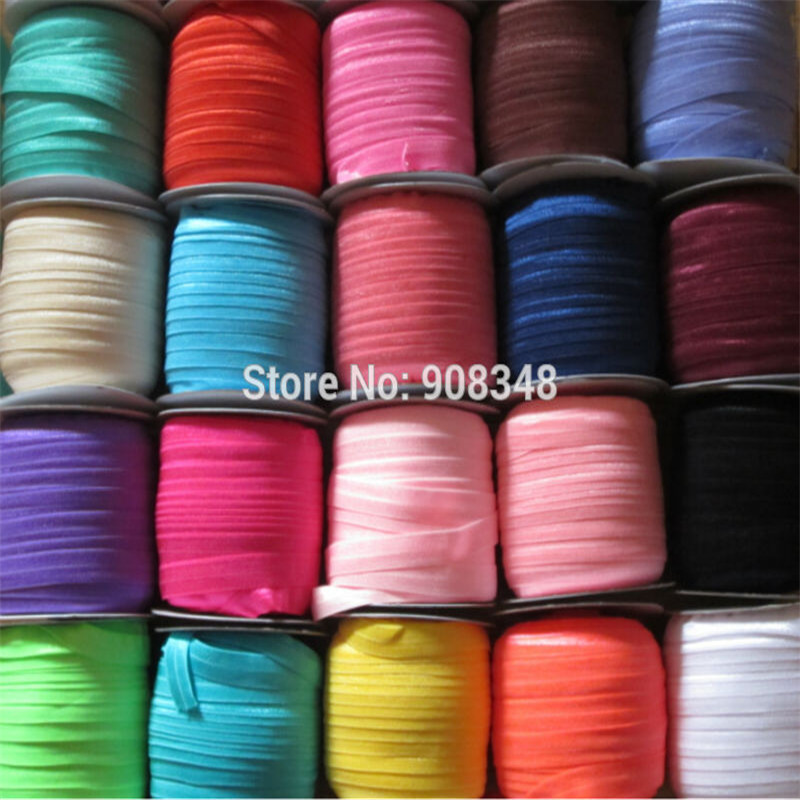 5 8 16mm 80 Colors Solid color Foe mid folded Over Elastic Ribbon Stretchy webbing hair