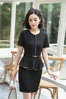 Fashion Patchwork Slim Hips Dress With Belt 2018 Summer Elegant Office Ladies Dresses With Belt Business Tops Plus Size