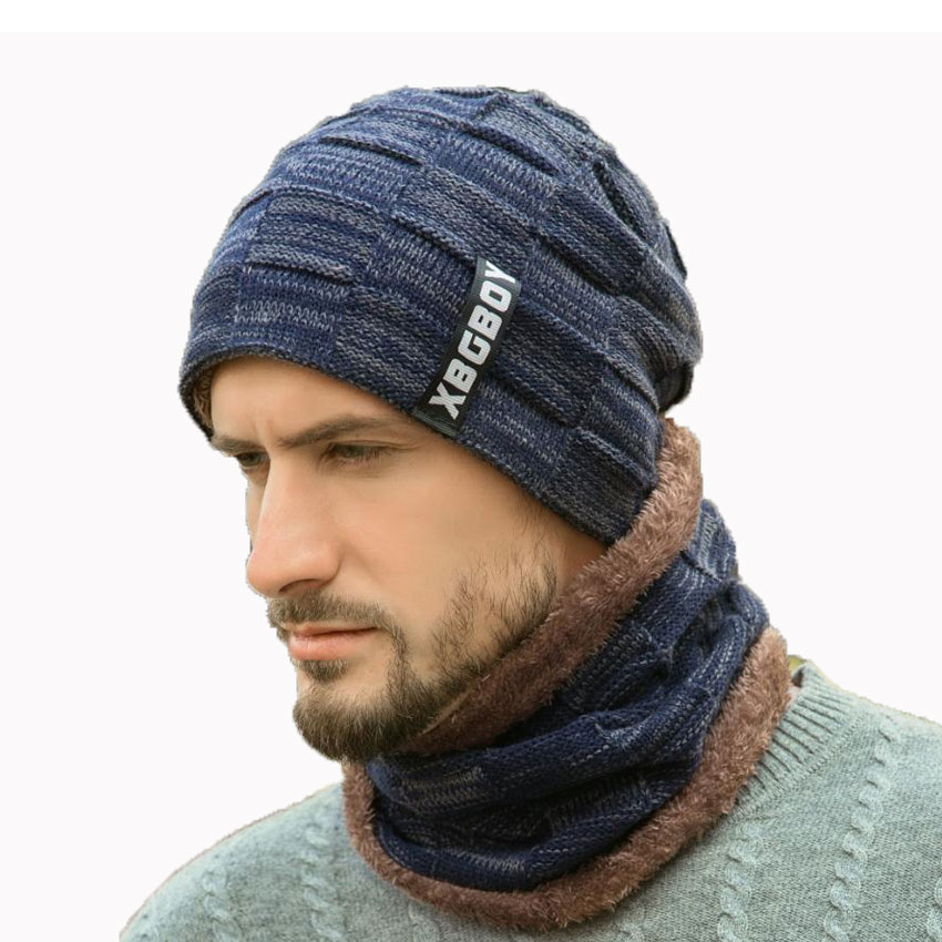 Winter Men Hat And Scarf Set For Women Male Ring Scarves Cap Knit Beanies Letter Hat Soft Stretch Cable Skullies Warm Suit