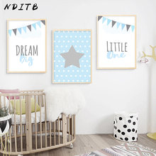NDITB Pink Dream Big Stars Canvas Art Poster Nursery Prints Cartoon Minimalist Painting Nordic Boys Girls Living Room Decoration(China)