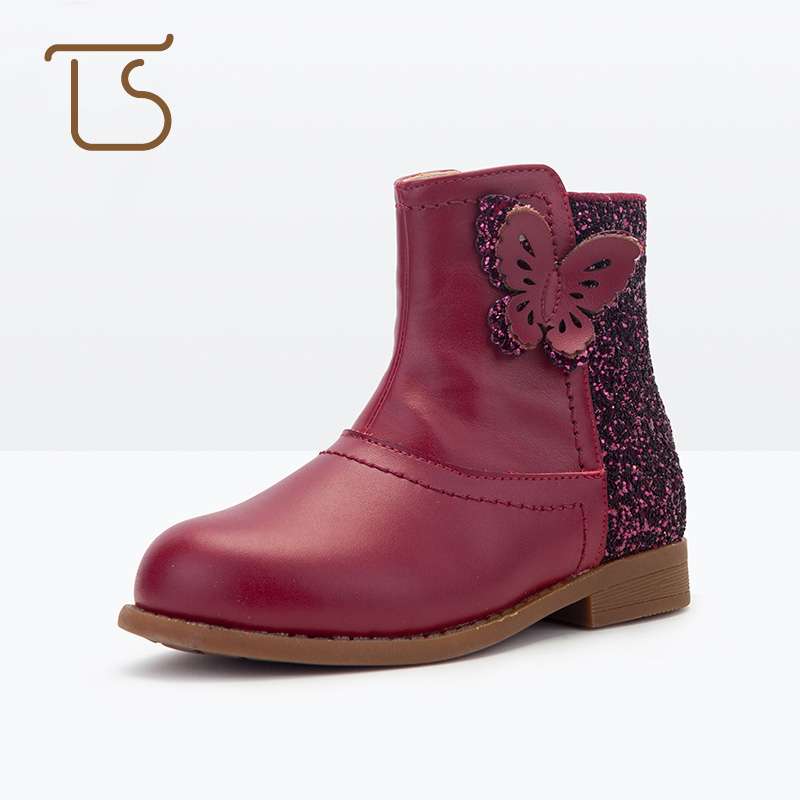 T.S. kids boots  New Arrival Autumn Winter Lovely Genuine Leather Rubber Sole Butterfly Glittery Children Boots Shoes Size 26-37 kelme 2016 new children sport running shoes football boots synthetic leather broken nail kids skid wearable shoes breathable 49