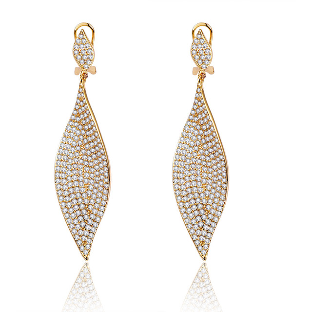 2016 Sterling Jewelry Aretes 18k Gold/platinum Plated Cubic Zirconia Wedding Earrings Lead Free Fashion Jewelry #E0044A