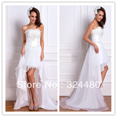 Dramatic princess Short in front long beach Wedding Dresses front ...