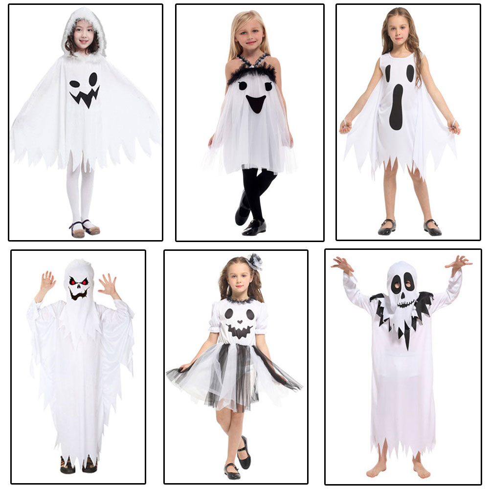 Boys Grim Reaper Costume Ghostly Ghoul Death Robe Halloween Fancy Dress Outfit