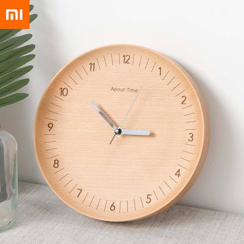 Original Xiaomi horloges murales en bois muet mouvement rond bûches Simple bois métal pointeur horloges murales salon décoration de la maison