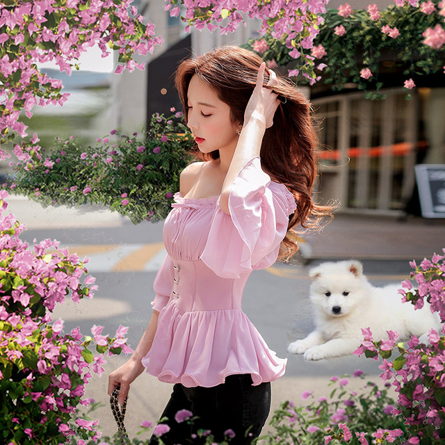 Dabuwawa Spring Off Shoulder Ruffles Chiffon Blouses for Girls Women New Pink Sweet Flare Sleeve Elegant Shirts Top D18CCF006