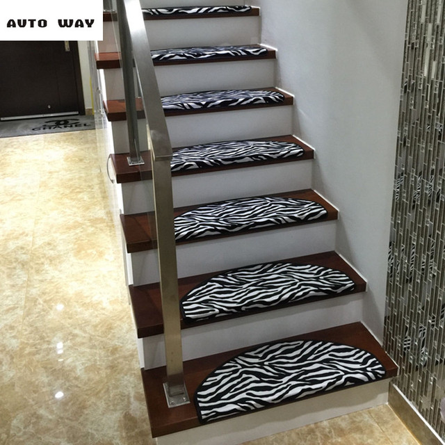 Zebra Pattern Stair Carpets Stairs Mat Stepping Rug Self Adhesive Lattice  Floor Mat Self