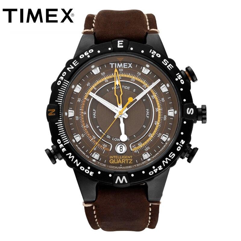 2018 Chaude Timex Masculine Originale T2P141 Intelligent Quartz Lumineux Marée Température Boussole Cuir Boucle Sangle de Sport En Plein Air Montre Homme
