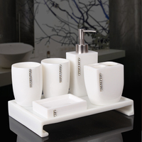 5pcs Resin Elegant Soap Dish Dispenser Shampoo Bottle Toothbrush Holders Box Storage Organizer Bathroom Accessories Set