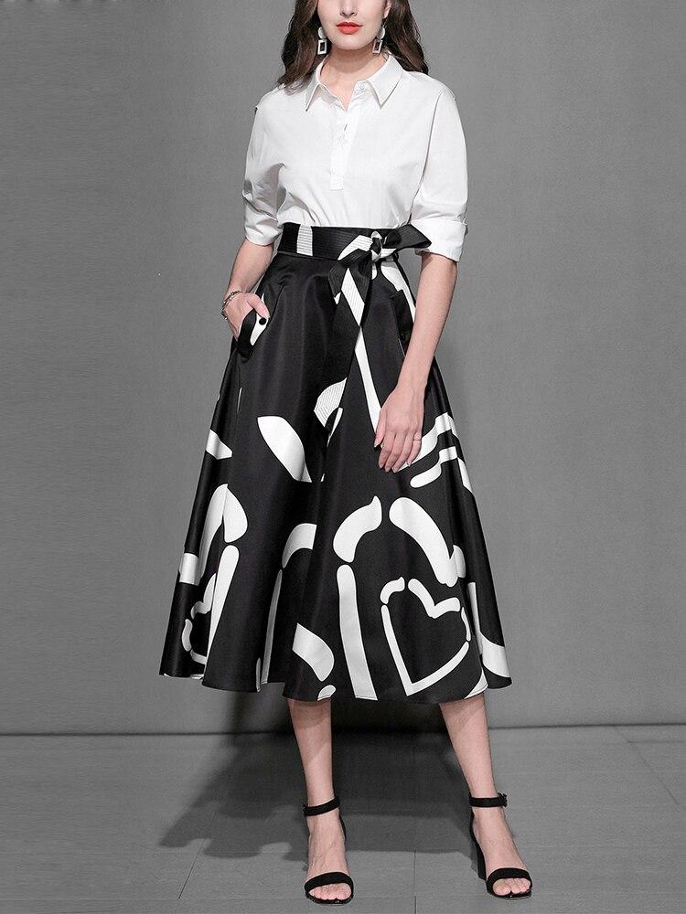 New 2018 Designer Runway Suits Set Womens Half Sleeve Turn down Collar Solid Blouse & Vintage Mid-Calf Skirt 2 Piece Set C1241