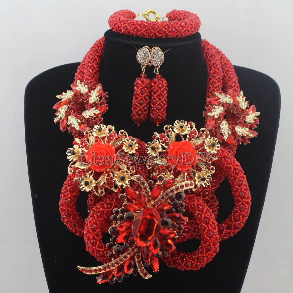 New Red Latest Fashion Crystal Beads Jewelry Set Costume Nigerian ...