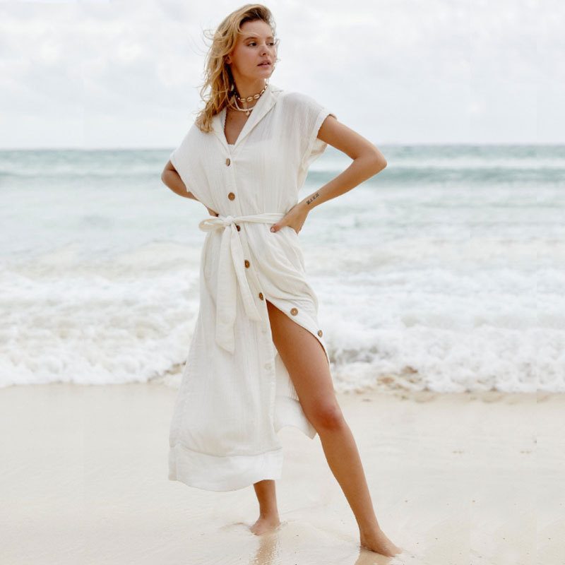 Rqokia Cover-ups white cotton tunic summer women beach wear robe wrap casual v-neck short sleeve front open swimsuit cover up
