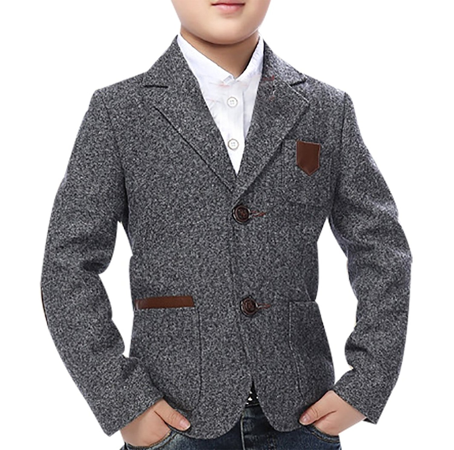 High Quality Child Kid Boy Buttons Casual Cotton Blend Grey Slim Fit Blazer Jacket-in Blazers ...