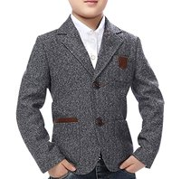 High Quality Child Kid Boy Buttons Casual Cotton Blend Grey Slim Fit Blazer Jacket
