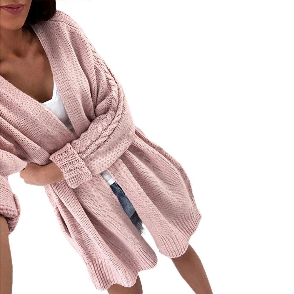 2018 Elegante Herbst Winter Solide Frauen Langarm Gestrickte Vorne Offen Frauen Beiläufige Reine Farbe Jacke Strickjacken Lange Pullover