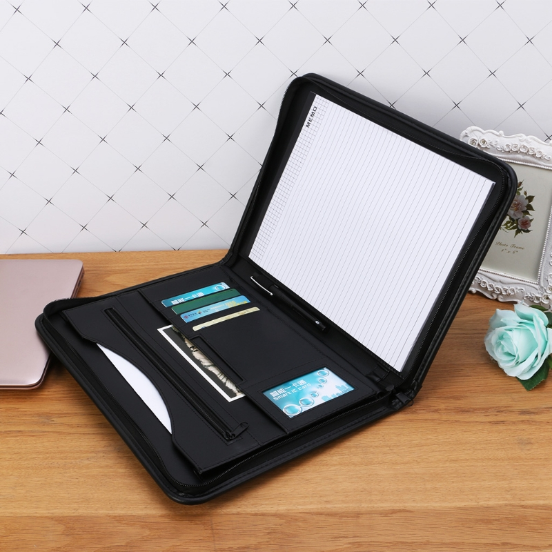 A4 Folder Conference File Document Organizer Manager Layout Clip Business Bag ppyy new a4 zipped conference folder business faux leather document organiser portfolio black