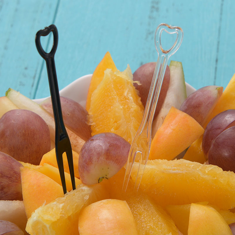 500Pcs 8Cm Disposable Household Plastic Fruit Fork For Buffet Cake Top Hat Cocktail Fork Wedding Holiday Decoration Accessories in Forks from Home Garden