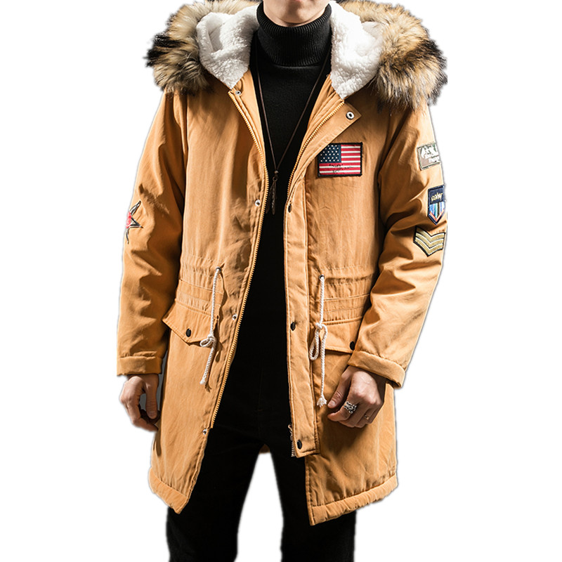2020 Winter New Fashion Boutique Cotton Solid Color Men's Casual Long Hooded Coat / Anti-fur Collar Thick Warm Men's Jacket Coat