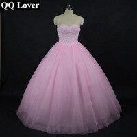 QQ Lover New Arrival Pink Ball Gown Wedding Dress Bling Bling Wedding Gown Bridal Gown Custom made Vestido De Noiva
