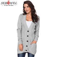 SEBOWEL Long Sleeve Knitted Cardigans for Womans Warm Sweaters Spring Autumn 2019 Female Casual Plus Size Cardigan Sweater Coats