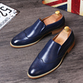 Desinger Mens Blue Brogue Carved Dress Shoes Fashion Round Toe Slip On Black Leather Shoes Man Business Leisure Trend 4 Colors
