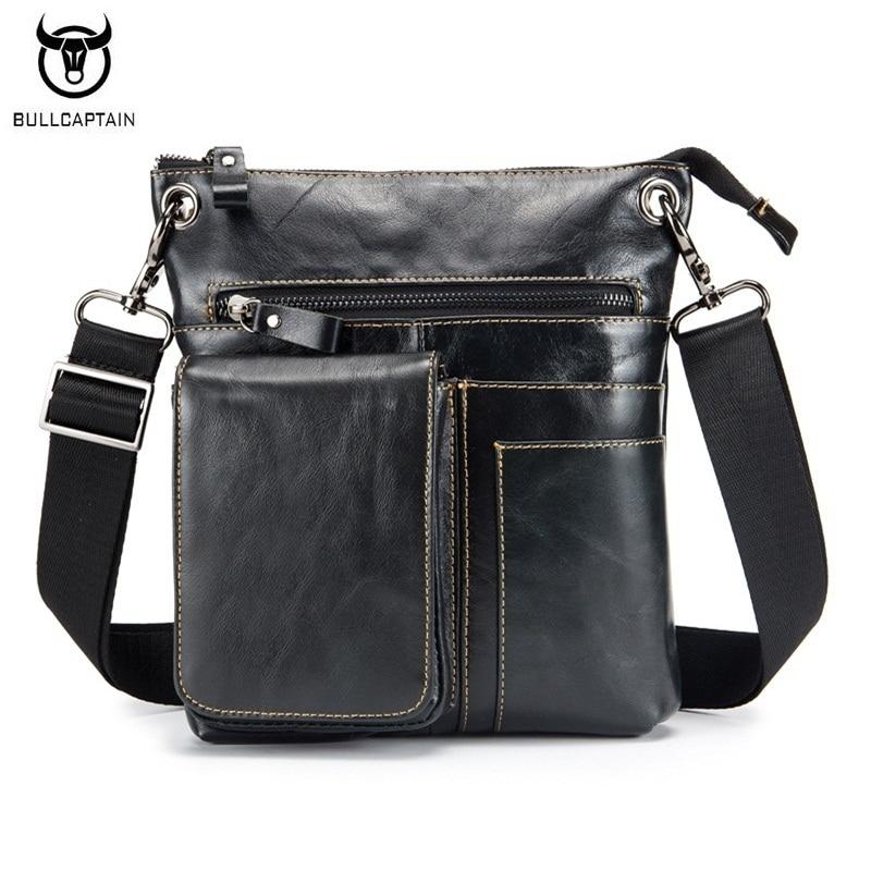 BULLCAPTAIN Vintage Fashion Men Bag Genuine Leather Casual Man Shoulder Bags High Quality Oil Wax Cowhide Business Messenger Bag