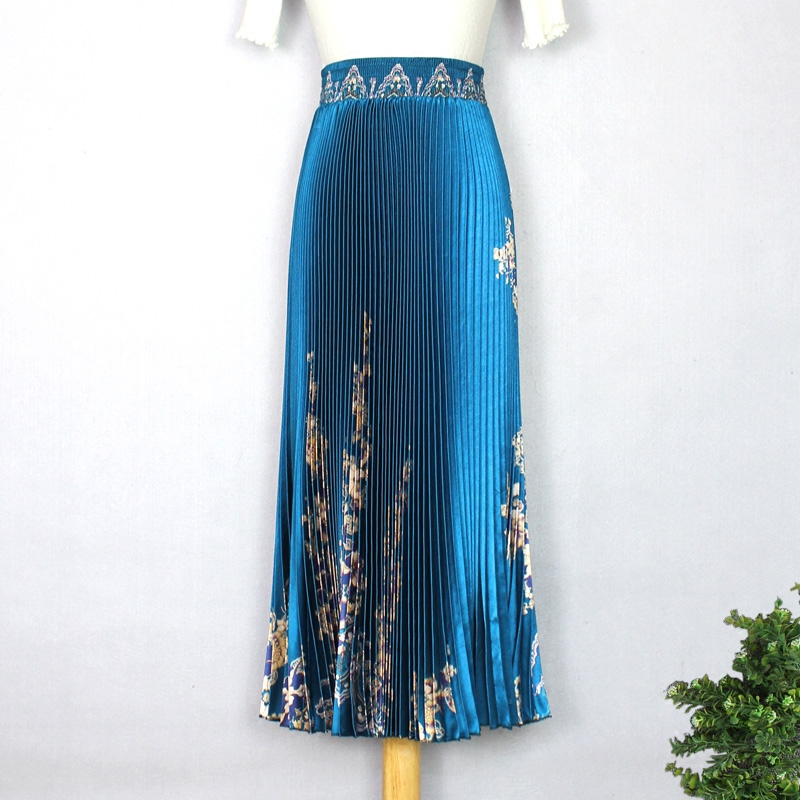 2019 Women's Spring And Summer Glossy Print Pleated Skirt Large Size High Waist Temperament Was Thin And Large Pleated Skirt