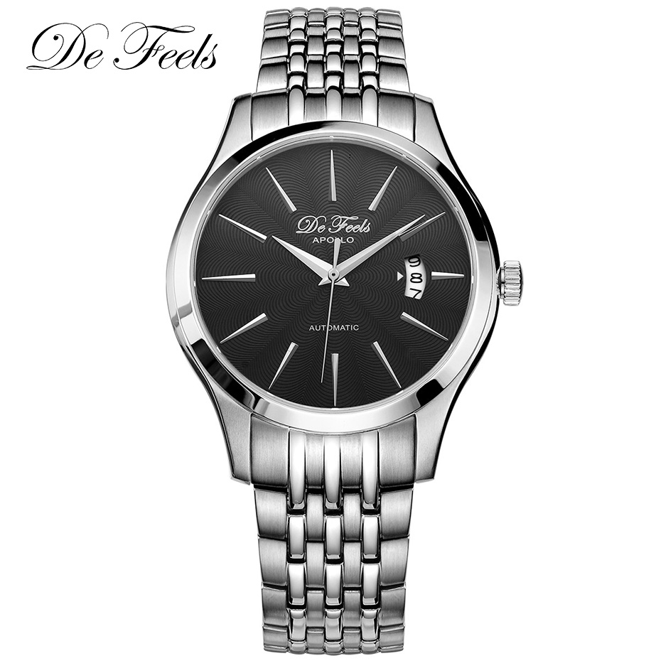 De Feels Sapphire Glass Men Business Watch Classic Automatic Mechanical Watches Male 316L Stainless Steel Clock Relojes HombreDe Feels Sapphire Glass Men Business Watch Classic Automatic Mechanical Watches Male 316L Stainless Steel Clock Relojes Hombre