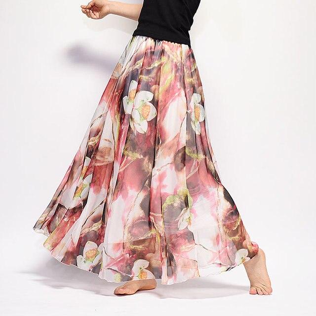 a3e56fb7c6ca Summer Women Long Skirt Chiffon Saia Beach Bohemian Maxi Skirts 2018 High  Waist Tutu Casual Vestidos Harajuku Saia Longa