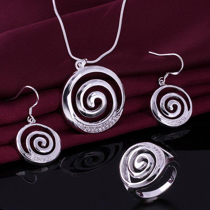 Enchapado conjunto joyería, de moda del pendiente del collar 519 540 anillo 404-