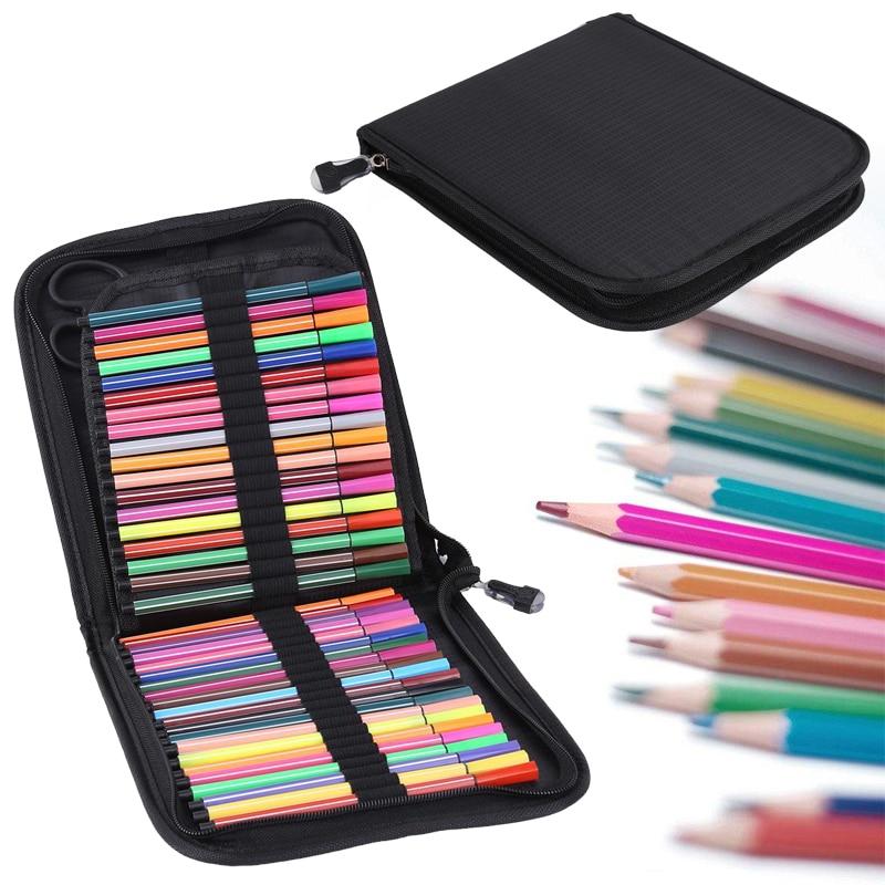 Color de agua de gran capacidad de la pluma caso lápiz bolsa de almacenamiento 72/120 ranuras opcional