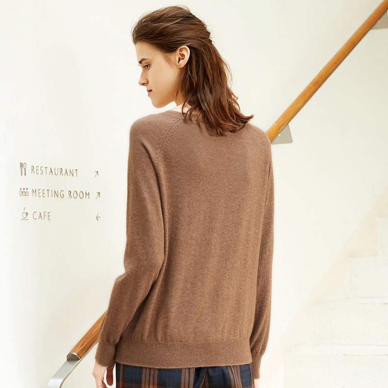 zhili Deep V-Neck Pullover Cashmere Sweater