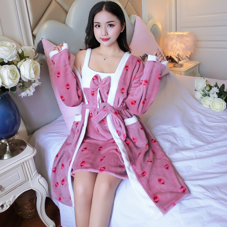 2PCS Sexy Thick Warm Flannel Robes Sets for Women 2018 Winter Coral Velvet Lingerie Night Dress Bathrobe Two Piece Set Nightgown 277